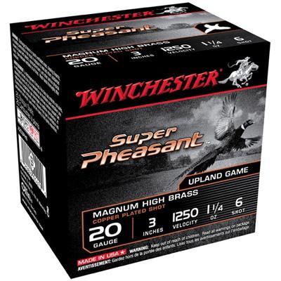 """Winchester Super Pheasant 20ga 3"""" 1-1/4oz #6 25/bx"""