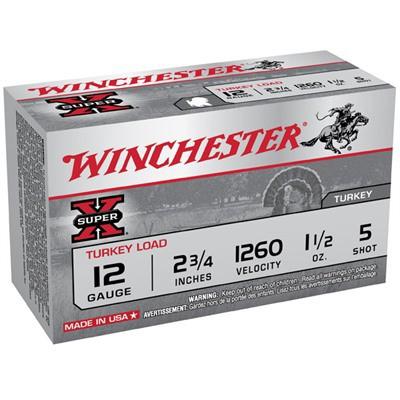 "Winchester Super-X Turkey 12ga 2.75"" 1-1/2oz #5 10/bx"