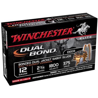 "Winchester Dual Bond 12ga 2.75"" 375gr Sabot Slug 5/bx"