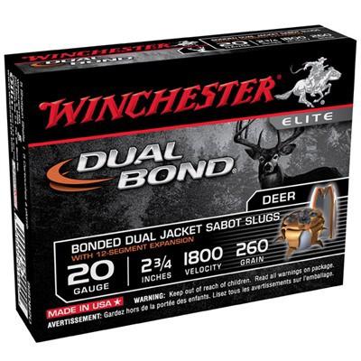 Winchester Dual Bond 20ga 2.75: 260gr Sabot Slug 5/bx