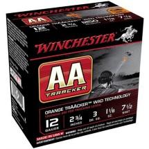 """Winchester AA Traacker Orange Wad 12ga 2.75"""" #7.5 1-1/8oz 25"""