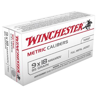 Winchester Ammo 95gr 9x18 Makarov Metric Cal. FMJ