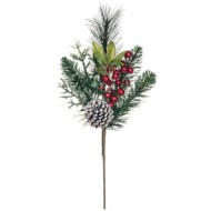 Sullivans Flocked Pine with Pinecones and Berries