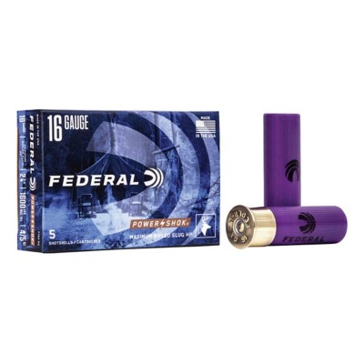 "Federal Power Shok 16ga 2.75"" 4/5oz Slug 5/bx"