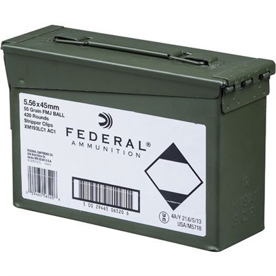 Federal M193 5.56 55gr FMJ-BT 420/rd Ammo Can 10/rd Clips