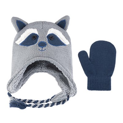 Infant Boys' Jacob Ash Racoon Hat And Mitten Set