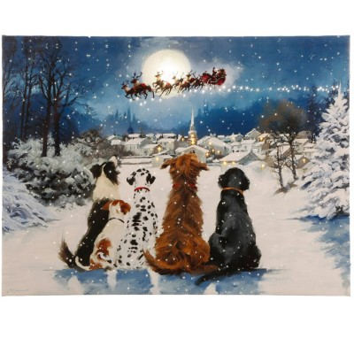 Raz Imports Dogs Watching Santa Lighted Print