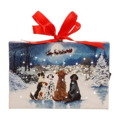 Raz Imports Dogs Watching Santa Lighted Print Ornament