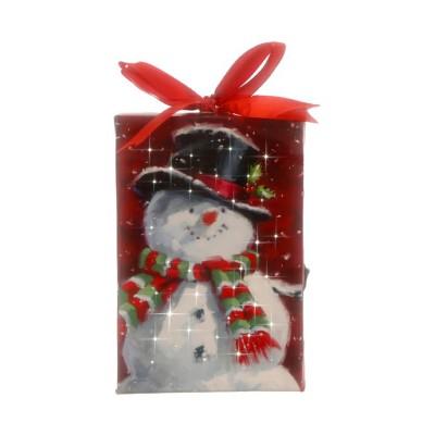 Raz Imports Snowman Lighted Print Ornament