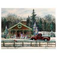 Raz Imports Winter Scene Cabin Lighted Print