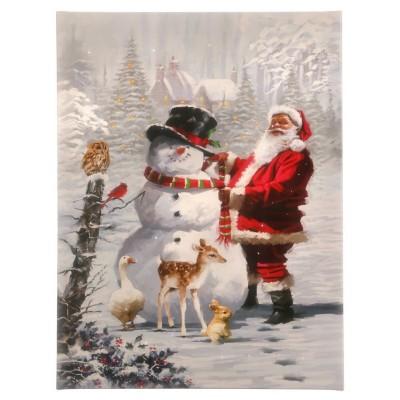 Raz Imports Santa And Snowman Lighted Print