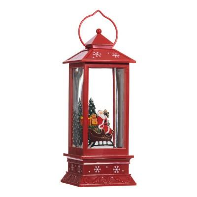 Raz Imports Santa Lighted Red Water Lantern