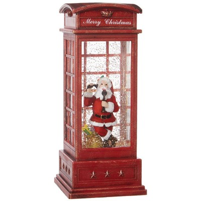 Raz Imports Santa In Lighted Water Phone Booth