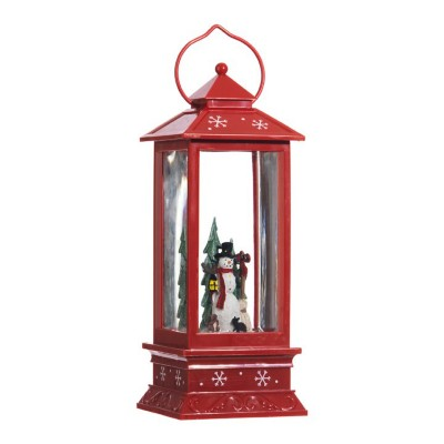 Raz Imports Red Snowman Lighted Water Lantern