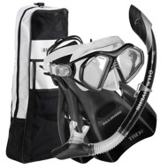 Adult U.S.  Divers Admiral 2 LX Mask Island Dry LX Snorkel Trek Fins Combo