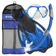 Adult U.S.  Divers Yucatan Mask Noosa Snorkel Starboard Fins Combo