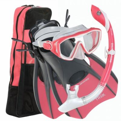 U.S. Divers Diva LX Mask, Island Dry Snorkel, and Trek Fin Set