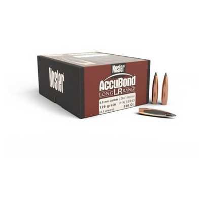 Nosler 6.5mm Caliber 129 Grain AccuBond LR Bullet 100 Count