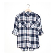 Grade School Girls' Silver Lightweight Plaid Long Sleeve Shirt