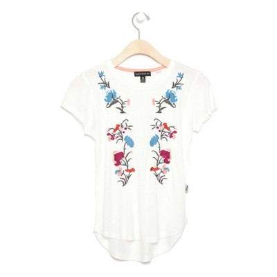 Grade School Girls' Silver Jeans Floral Embroidered Short Sleeve Shirt