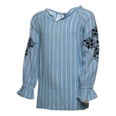 Girls' Silver Embroider Stripe Long Sleeve Shirt