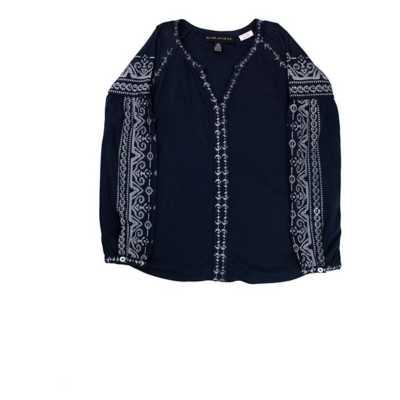 Girls' Silver Jeans Embroider V-Neck Long Sleeve Shirt