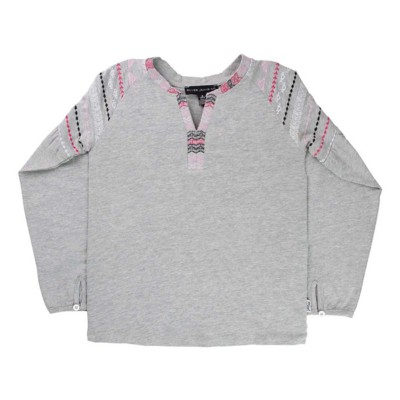 Grade School Girls' Silver Jeans Embroidered Long Sleeve Shirt