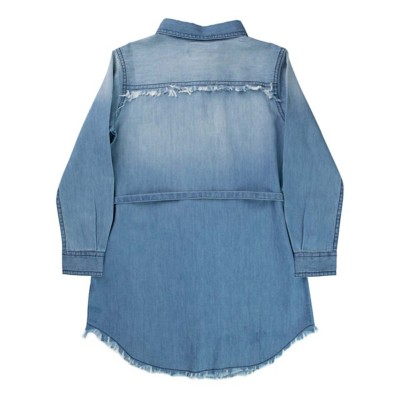 Grade School Girls' Silver Denim Button Down Dress