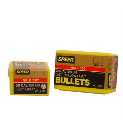 Speer Bullet .38 .357 158GR GD HP