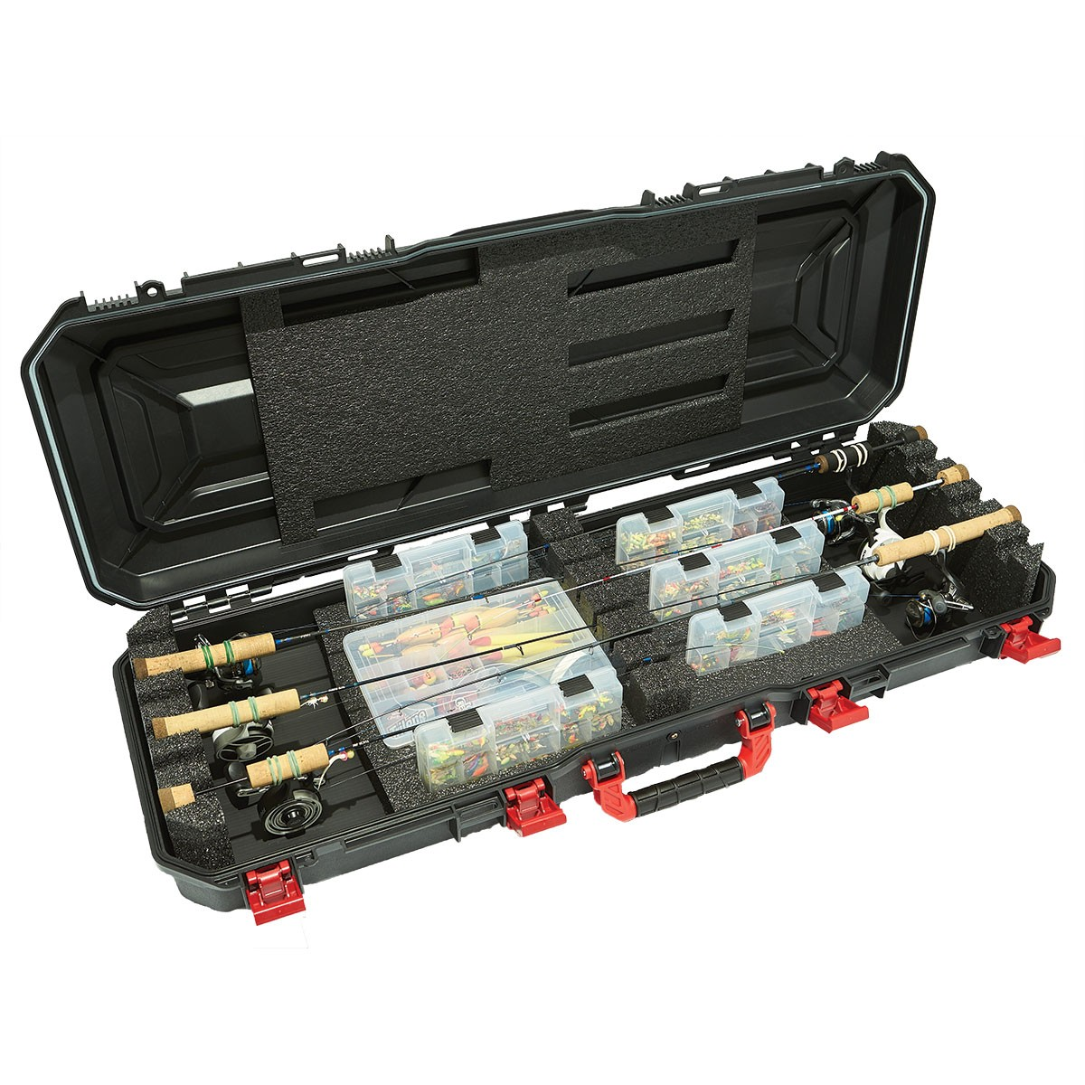 Ice Fishing Rod Hard Carry Case 6 Combo Rod//Reel and Tackle Box Storage