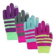 Grade School Girls' Grand Sierra Touchscreen Stripe Stretch Gloves