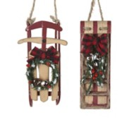 Kurt S Adler Assorted Wooden Sled/Tobaggan Christmas Tree Ornament