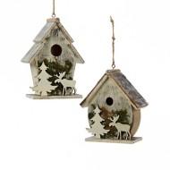 Kurt S Adler Wooden Birdhouse Tree Ornament