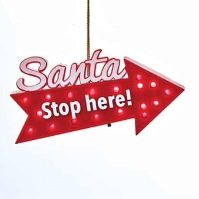 Kurt S Adler LED Santa Stop Here! Sign Christmas Tree Ornament