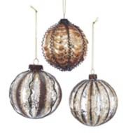 Kurt S Adler Assorted Earthtone Metal Ball Christmas Tree Ornament