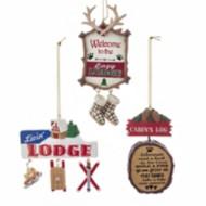 Kurt S Adler Assorted Lodge/Cabin Sign Christmas Tree Ornament