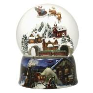 Roman Santa In Sleigh Rotating Glitter Globe