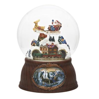 Roman Santa And Train Glitter Globe