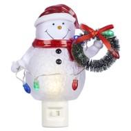 Roman Snowman With Wreath Night Light