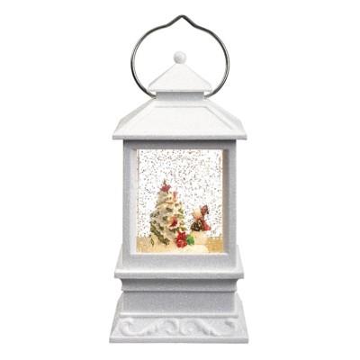 Roman LED Snowman White Lantern