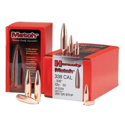 Hornady 338 Cal 285gr BTHP Match Bullets 50/bx