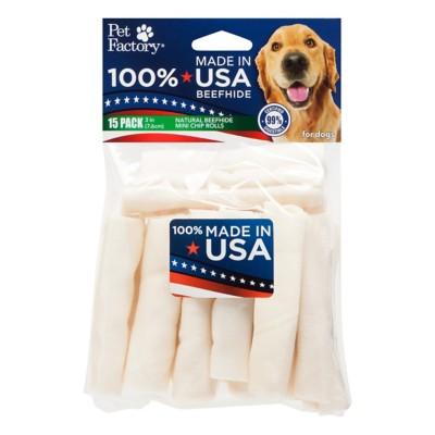 Pet Factory Natural Beefhide Mini Chip Rolls Dog Bones