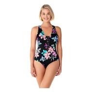Women's Penbrooke Garden Lily Lattice Front Beaded One Piece Swimsuit