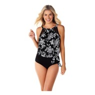 Women's Penbrooke Magnolia Twin High Neck Mesh Blouson Tankini Top