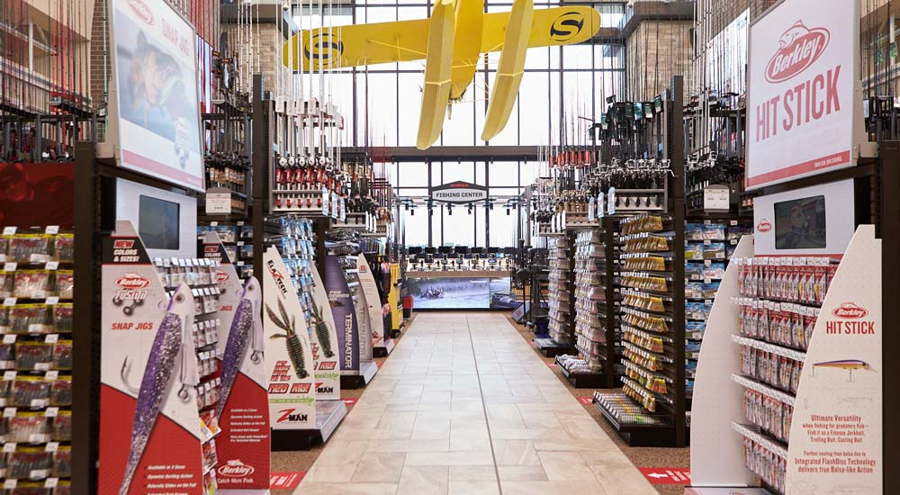 fishing shop with fishing rods and fish finders