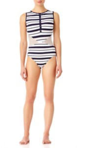 Women's Anne Cole Henley Mesh Swimsuit