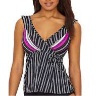 Women's Anne Cole Collection Signature Sketchbook Stripe Wrap Tankini Top