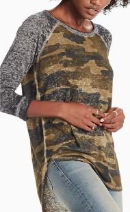 Women's Lucky Brand Camo Printed 3/4 Sleeve Shirt