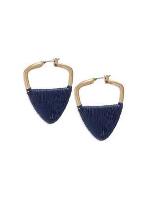 Women's Lucky Brand Navy Threaded Hoop Earrings
