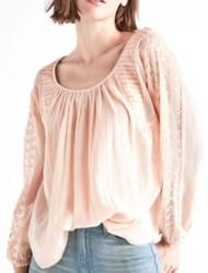 Women's Lucky Brand Cross Back Peasant Long Sleeve Shirt